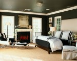 Imaginative Black and White Cowhide Rug Bedroom Contemporary with Eclectic Design Beverly Hills Los Angeles Firescreen Beige Headboard Fireplace Artwork Space Planning Bedding Luxury Home