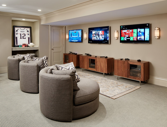 Pleasing Custom Creations Furniture Family Room Transitional With Video Game Station And Round Chairs Beige Walls Game Room For Kids Gray Carpet