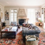 Terrific Area Rug For Family Room Transitional With White French Doors And Navy Leather Sofa Antler Decor Blue Leather Sofa Bookcase Ladder Built In
