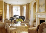 Wonderful Grey and Yellow Curtain Living Room Victorian with Gold Coffee Table Arch Doorway Wainscoting White Molding Hideaway Seat Floral Upholstery Wood Patterned Chairs Glass