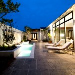 Wonderful Outdoor Wall Fountains Patio Patio Contemporary With Pool Chaise Lounges And Landscape Lighting Accent Lighting Concrete Patio