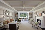 Amazing Fabric Panels For Walls Living Room Contemporary with Chairs in Front Of Fireplace Frame and Panel Coffered Ceiling Nail Head Detail Rectangular Living Room White Painted Wood Most Comfortable