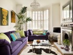 Amazing Purple Faux Fur Throw Living Room Victorian with Glass Coffee Table Sofa and Green Bay Window Crystal Chandelier interior Shutters House Plant Modern Living Room