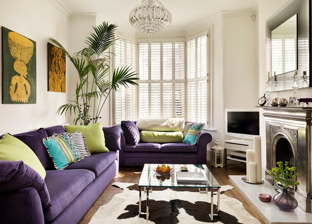 Amazing Purple Faux Fur Throw Living Room Victorian With House Plant And Purple Sofa Bay Window Crystal Chandelier Glass Coffee Table House Plant
