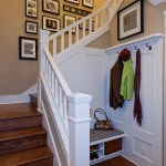 Brilliant Stair Storage Basket Staircase Traditional With Coat Hooks And Glass Handle Knob Bench Seat Coat Hooks Custom Wood Work Dark Stained Glass