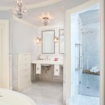 Delightful Double Sink Console Bathroom Traditional With Console Sink And Marble Floor Chandelier Console Sink Crown Molding Double Vanity