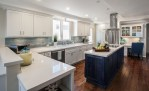 Delightful Misty Carrera Kitchen Beach Style with Communication Center White Cabinet Kitchen Glass Cabinet Front Under Lighting Countertop Glass Top Cabinets 3x6 Subway Tile