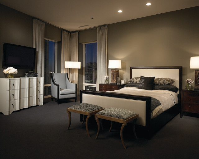 Lovely Black Bedroom Wall Bedroom Contemporary With Wood Nightstand And Rectangular Table Lamp Cabriole Legs Gray Carpet Walls Mood Lighting Recessed