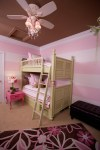 Sparkling Girls Room Ceiling Fan Kids Contemporary with Roman Shade Tufted Ottoman Embroidered Bedding Lime Green Bedroom