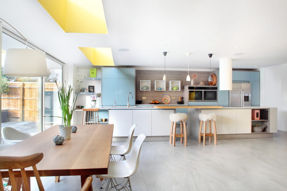 Imaginative Blue And Yellow Kitchen Ideas Kitchen Contemporary With Minimalist And Storage Solutions