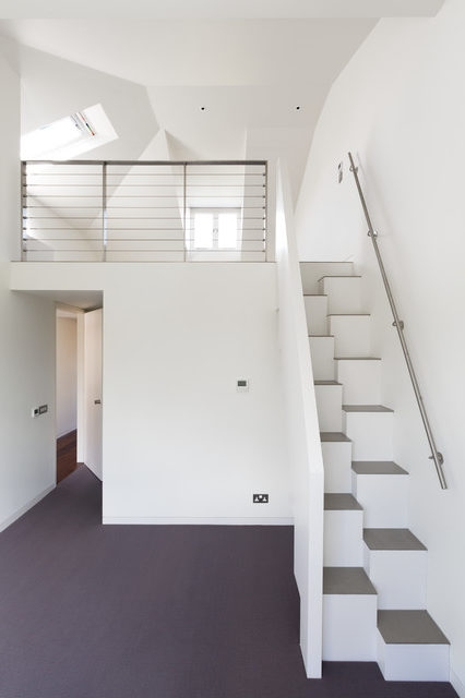 Lovely Wooden Handrail Design Staircase Contemporary With Steps | White And Wood Stairs | Non Slip | Foyer | Simple | Solid Wood | Indoor