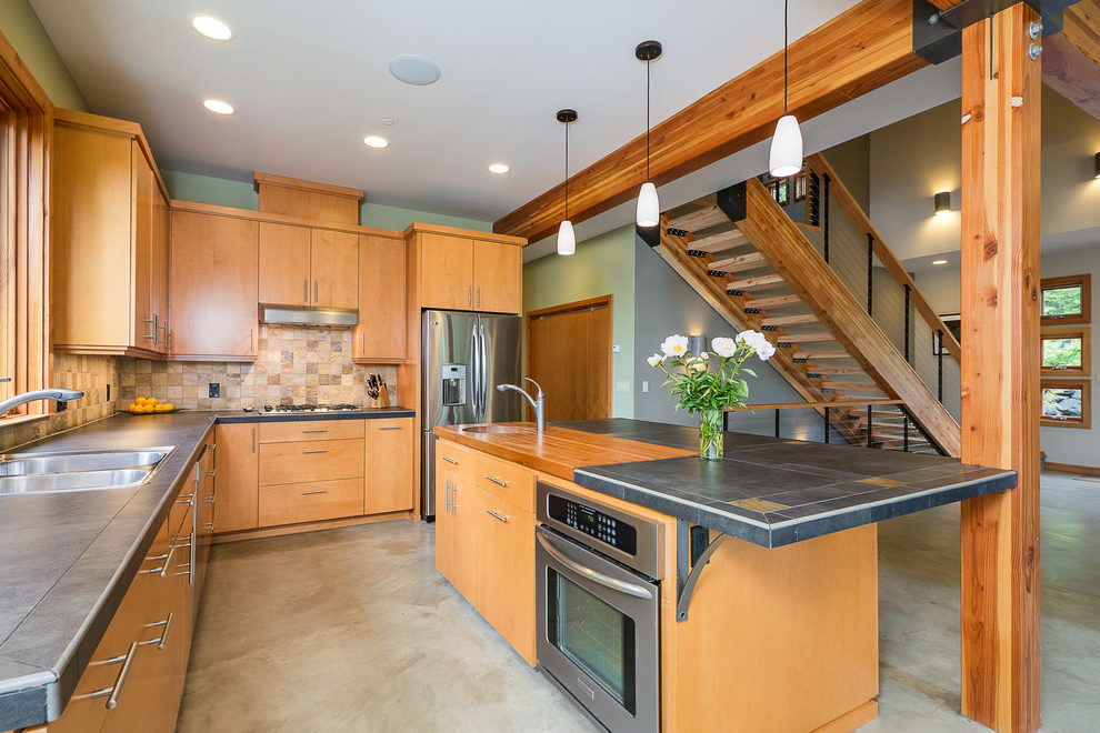 Pleasing Modern Maple Cabinets Kitchen Contemporary With Elevated Countertop And Butcher Block