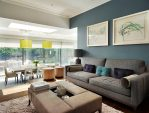 Splendid Chartreuse Sofa Living Room Contemporary with Smoke-blue Walls Contemporary Living Room Blue Feature Wall Glass Partition Smoke Large Ottoman Faux-leather