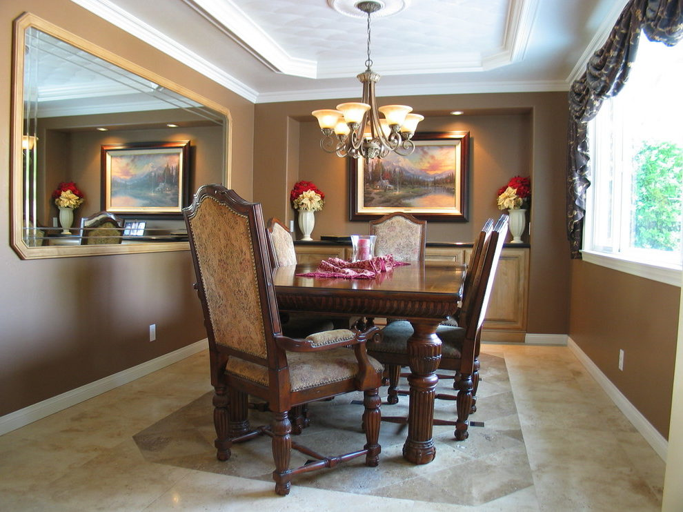Awesome Mocha Color Paint Dining Room Mediterranean With Built In Buffet And Crown Molding Built In