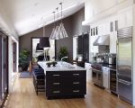 Good-Looking Glass Pendant Lights Kitchen Farmhouse with Lighting Wood Floors Breakfast Bar Eat-in Kitchen Cabinet-front Refrigerator Panel Pannelling Coffered Ceiling Oak