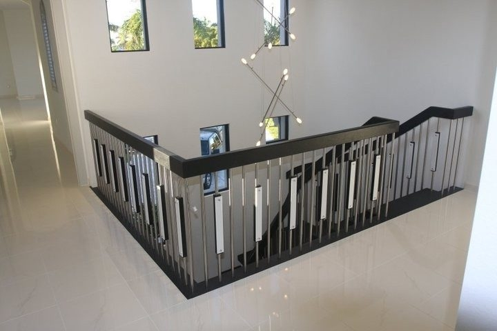 Dishy Black Stair Spindles Staircase Contemporary With Sensored | Black Banister With White Spindles | Brazilian Cherry Stair | Victorian | Traditional Home | Iron Spindle White Catwalk Brown Railing | Gray