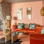 Fabulous Orange And Pink Wallpaper Family Room Eclectic With Orange Sofas And Chevron Print Ceiling