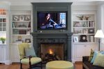 Imaginative Nantucket Gray Benjamin Moore Family Room Traditional with Wall Mount Tv Footed Cabinets Fireplace Surround Crown Molding Above Bookshelves Built in Shelves Wood Throw