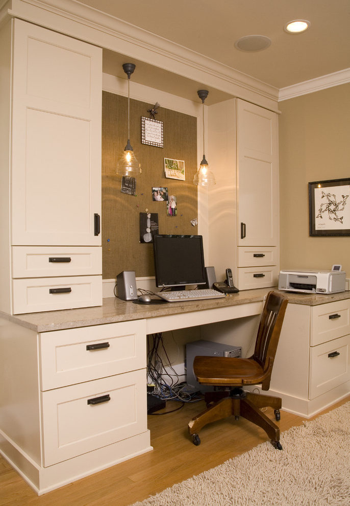 Impressive Mocha Color Paint Home Office Traditional With Bulletin Board And White Wood Built In