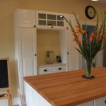 Lovely Ikea White Cabinet Kitchen Transitional With Kitchen Hutch And Butcher Block Countertops