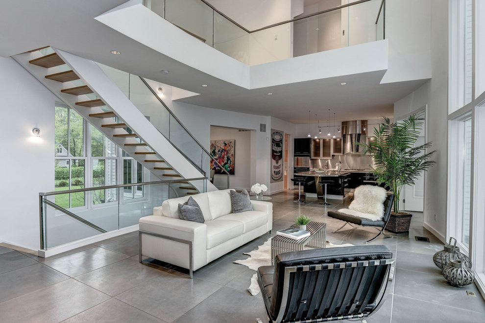 Outstanding Living Room Tile Floor Living Room Contemporary With Stainless Railings And Open