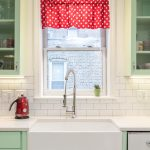 Pretty White Polka Dot Curtains Kitchen Traditional With Apron Sink And Metal Pendant Lighting Apron