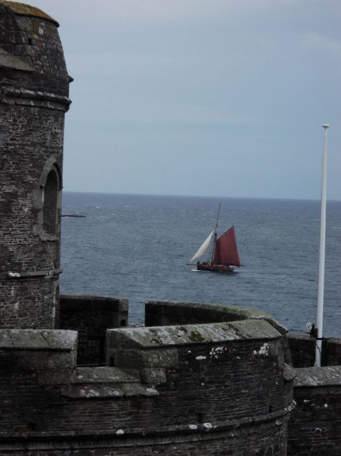 Mr P's cousin sailing into Falmouth on a tall ship.