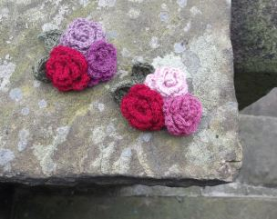 3. Crochet Rose Brooches