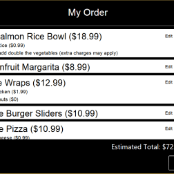 My Order Screen