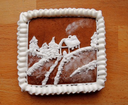tradycyjny pierniczek miodowy - lukrowana pocztówka / prezent