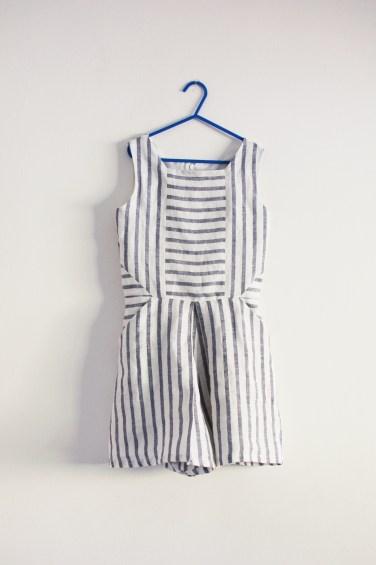 petal fold playsuit in striped linen
