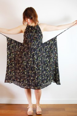 floral silk acton dress construction