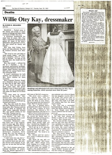 The News & Observer obituary for Willie Kay, Tuesday, September 29, 1992. Courtesy of Mr. Ralph Campbell Jr. and The News & Observer.
