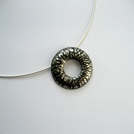 Katherine Yelland - Black wave doughnut pendant