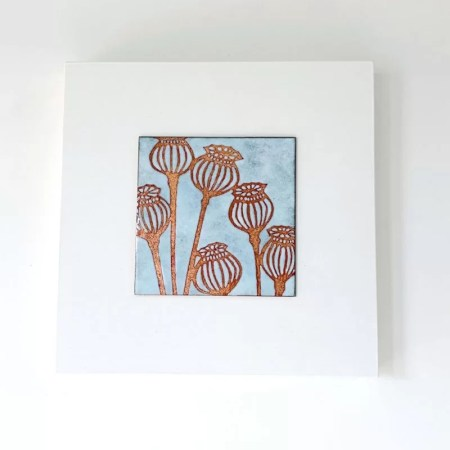 Janine Partington - poppy heads enamel copper panel