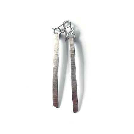 Susan Clough - flat bark long drop earrings