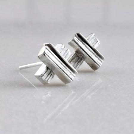 Eleni Koumara - small silver X earrings.