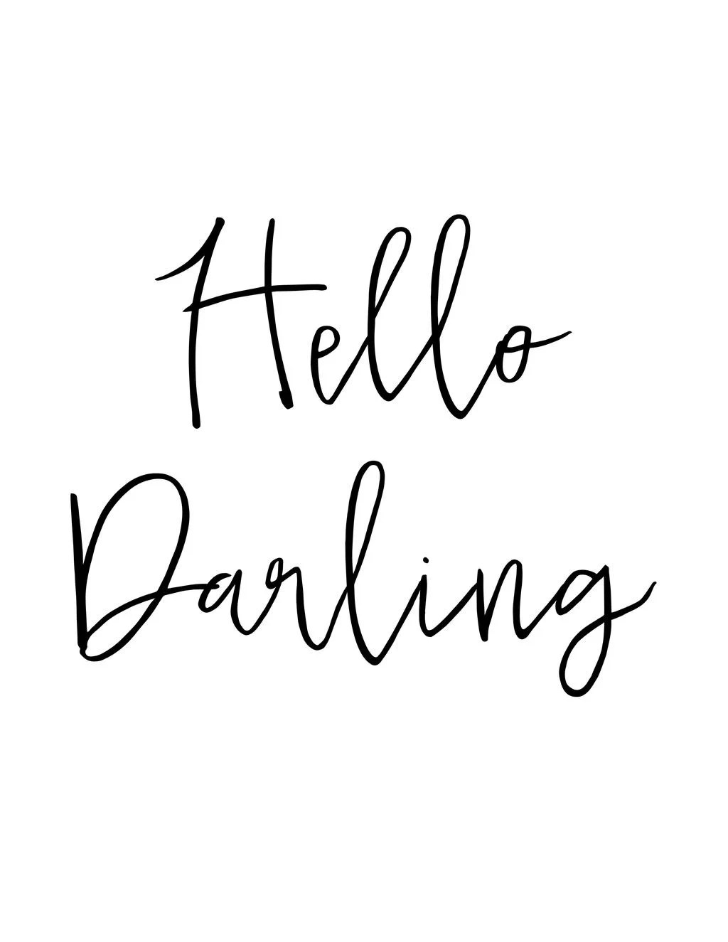 Hello Darling Sign Free Printable