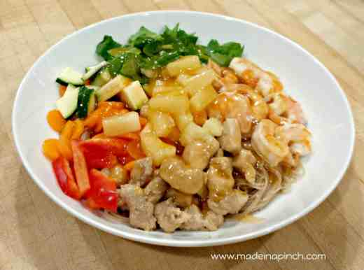 Vietnamese noodle bowl with sweet and sour sauce