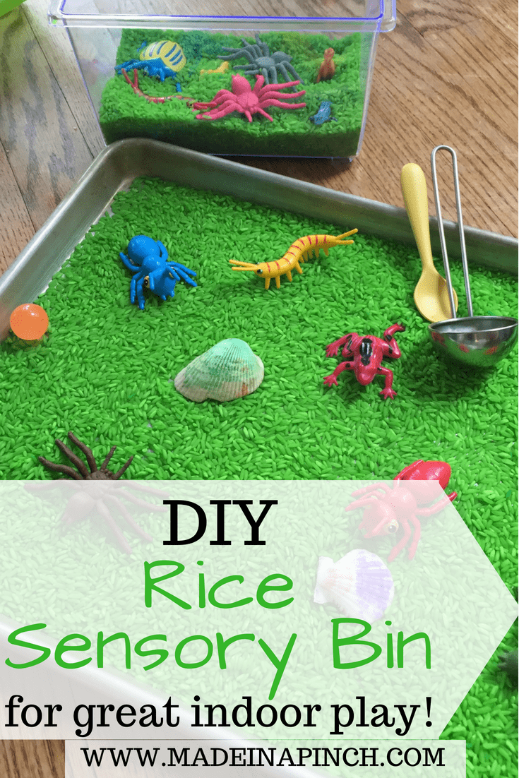 Sensory rice play is a great activity to help all kids with their sensory development. For our recipe and other helpful tips visit Made in a Pinch and follow us on Pinterest!