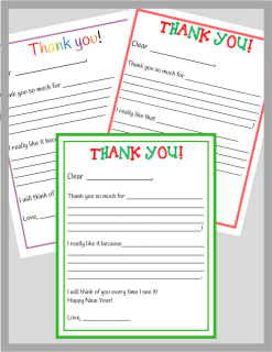 Thank you note template package
