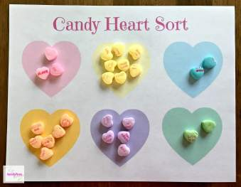 Valentine's Day activity candy heart math sorting