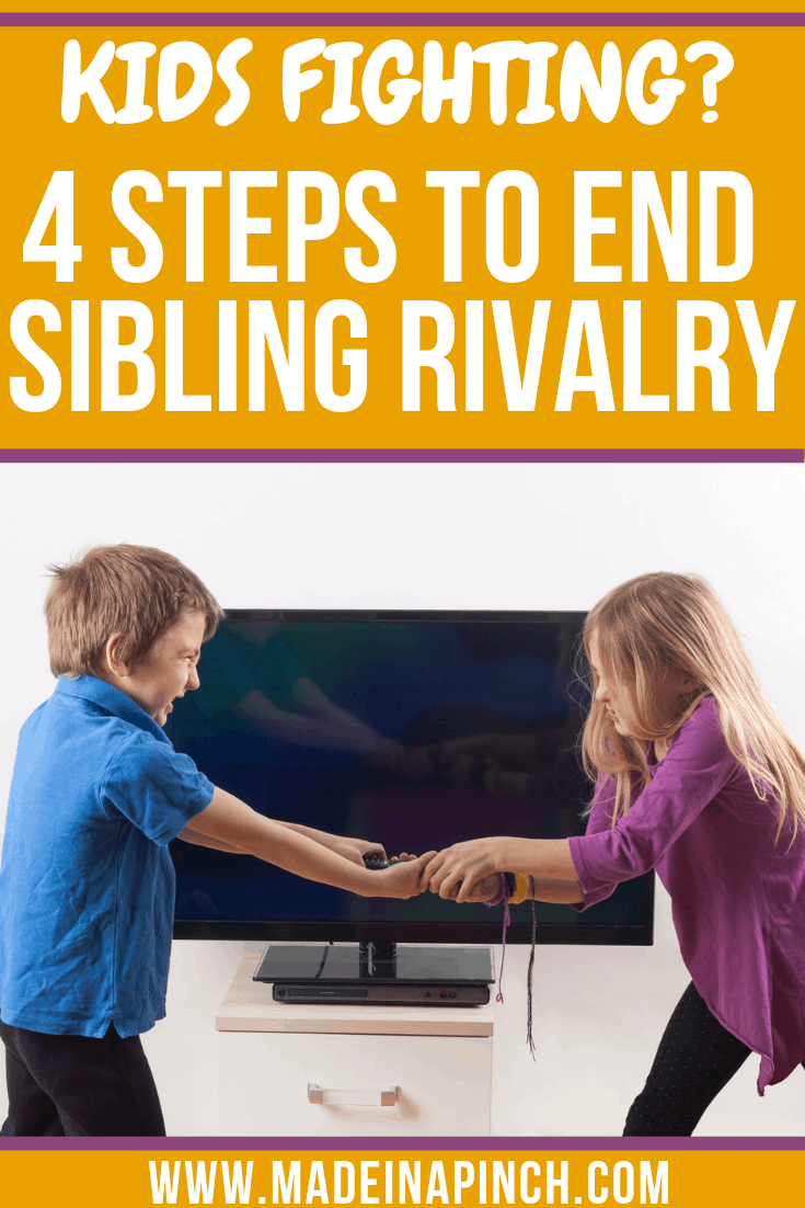 End kids fighting with 4 simple strategies! Sibling Rivalry can become a thing of the past! Follow us on Pinterest for more helpful tips and easy recipes.