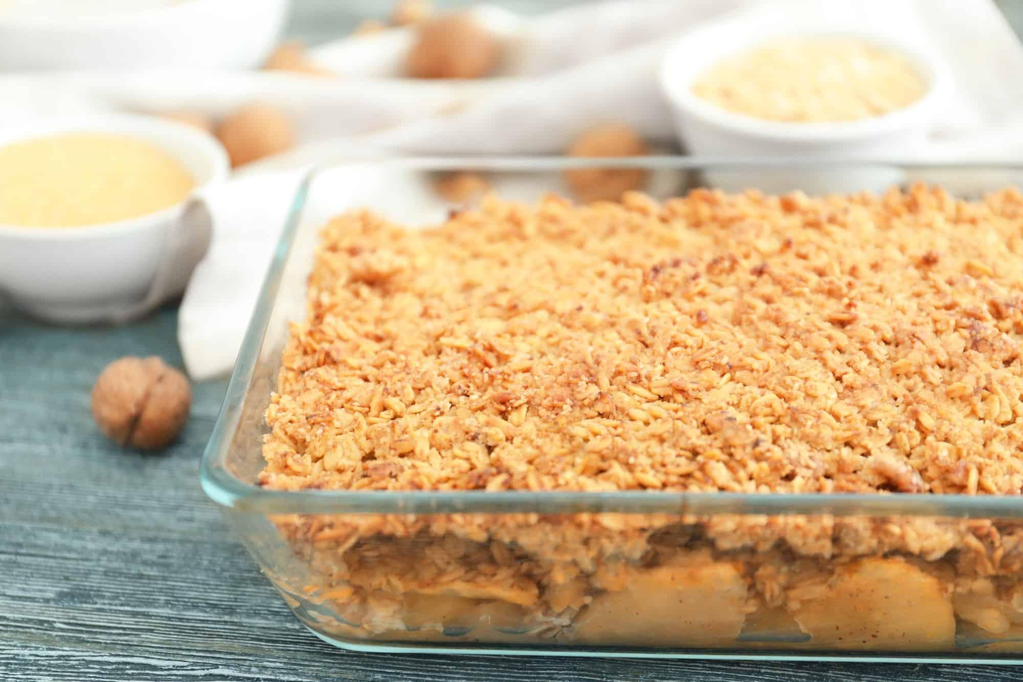 a pan of healthy apple crisp