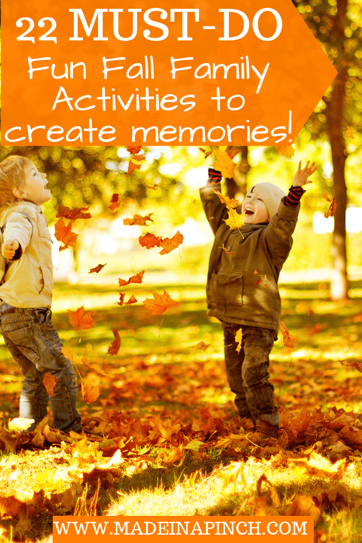 Fall is the perfect time to do fun family activities! Grab our list of 22 classic ideas to create lasting memories this year at Made in a Pinch. For more tips and family-friendly recipes, follow us on Pinterest!1