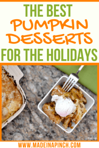 Easy Pumpkin Desserts right here! Grab the recipes for 15 of the best pumpkin desserts that aren't pie on Made in a Pinch. For more easy recipes and helpful tips, follow us on Pinterest!