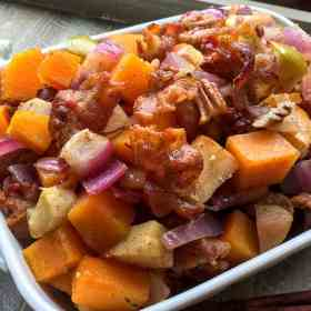 Butternut squash casserole is a great healthier alternative to heavy holiday food. Get more healthy holiday eating tips and delicious recipes at Made in a Pinch and follow us on Pinterest!