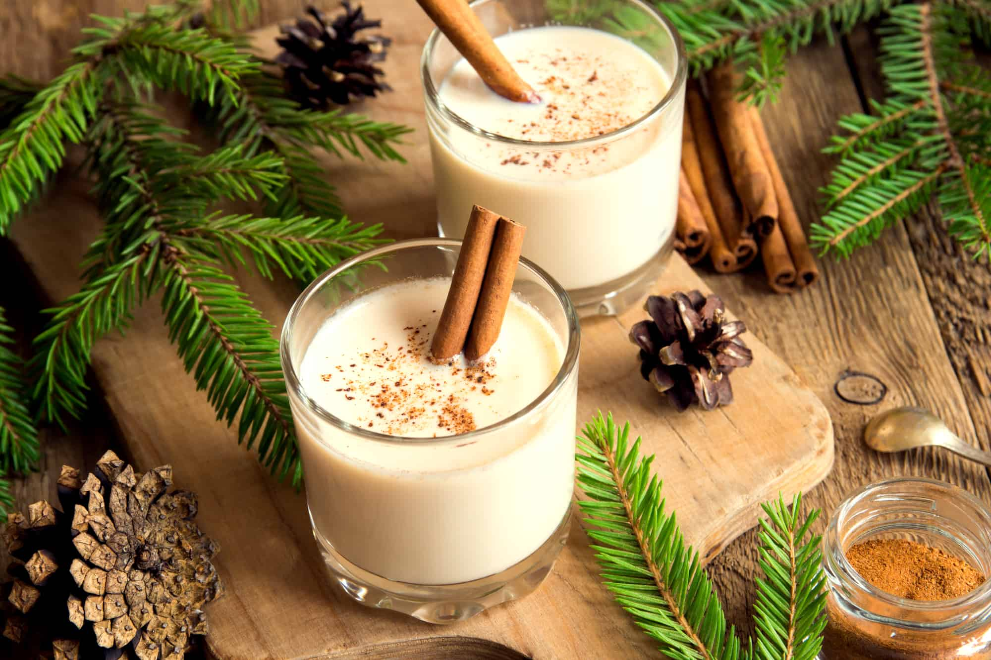 two glasses of homemade non-alcoholic eggnog with cinnamon sticks