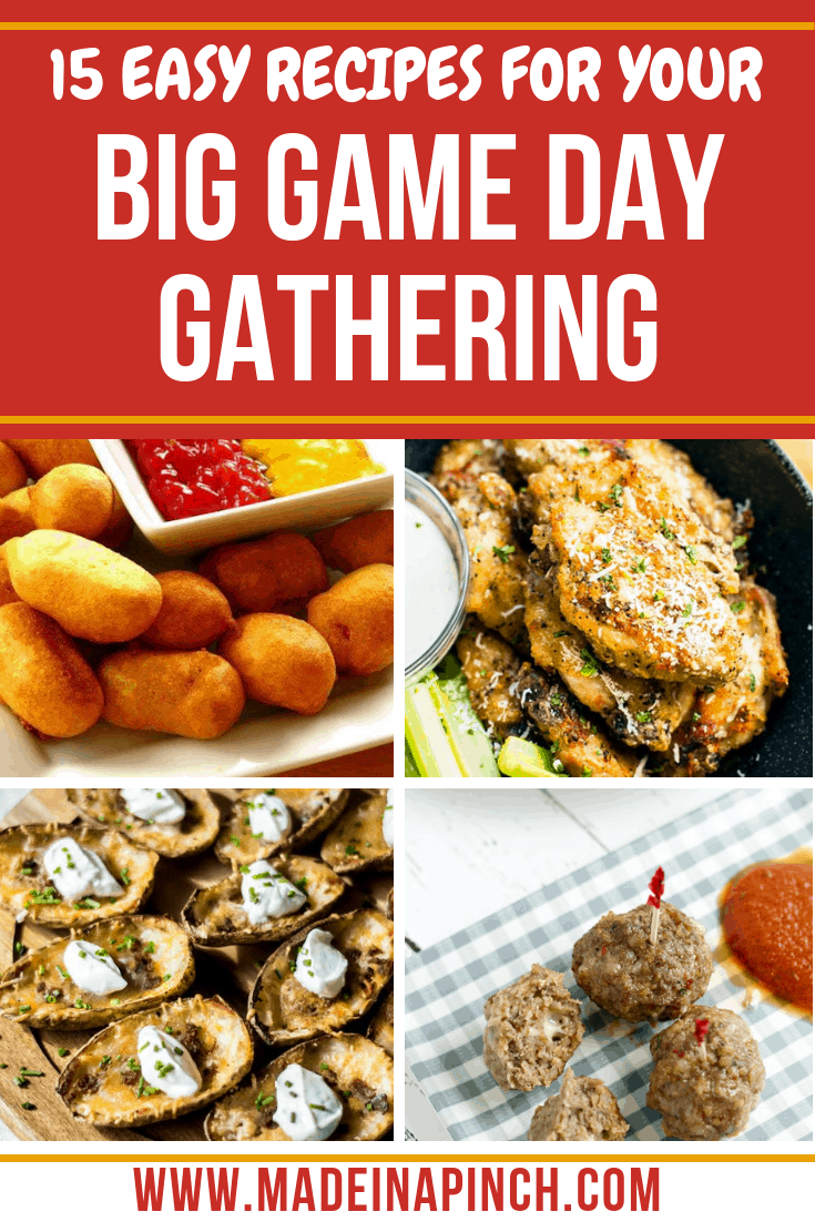 These 15 game day food ideas will disappear quickly from any get together! Grab the recipes at Made in a Pinch and follow us on Pinterest for more great recipes and helpful tips!