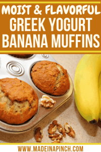 Banana Greek Yogurt Muffins are full of protein AND flavor! Grab this protein banana muffin recipe on Made in a Pinch and follow us on Pinterest for more helpful tips and delicious recipes!